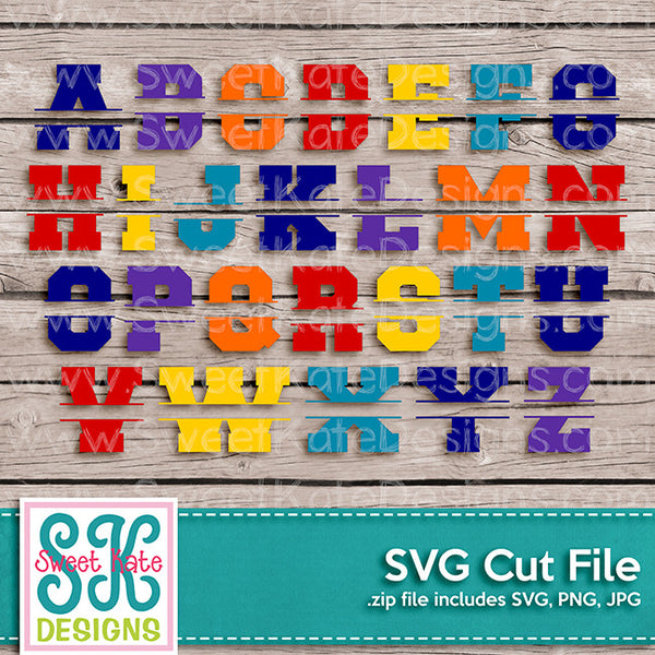 Varsity Letters A-Z Split SVG - Sweet Kate Designs