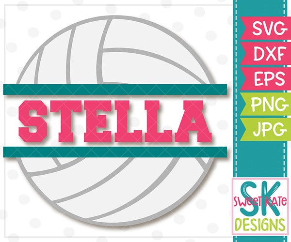 Split Volleyball SVG DXF EPS PNG JPG - Sweet Kate Designs