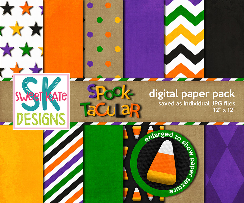 Spooktacular Digital Paper Pack - Sweet Kate Designs