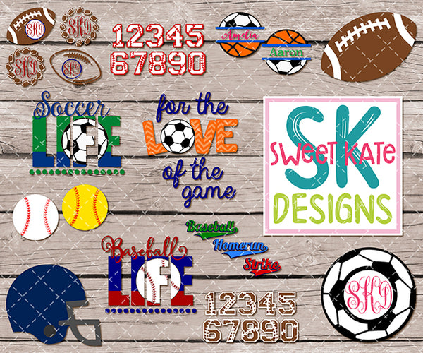 Sports Bundle 01 - Football Baseball Soccer SVG DXF EPS PNG JPG - Sweet Kate Designs