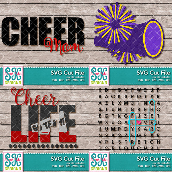 Sports Bundle 03 - Cheer Softball Volleyball SVG DXF EPS PNG JPG - Sweet Kate Designs