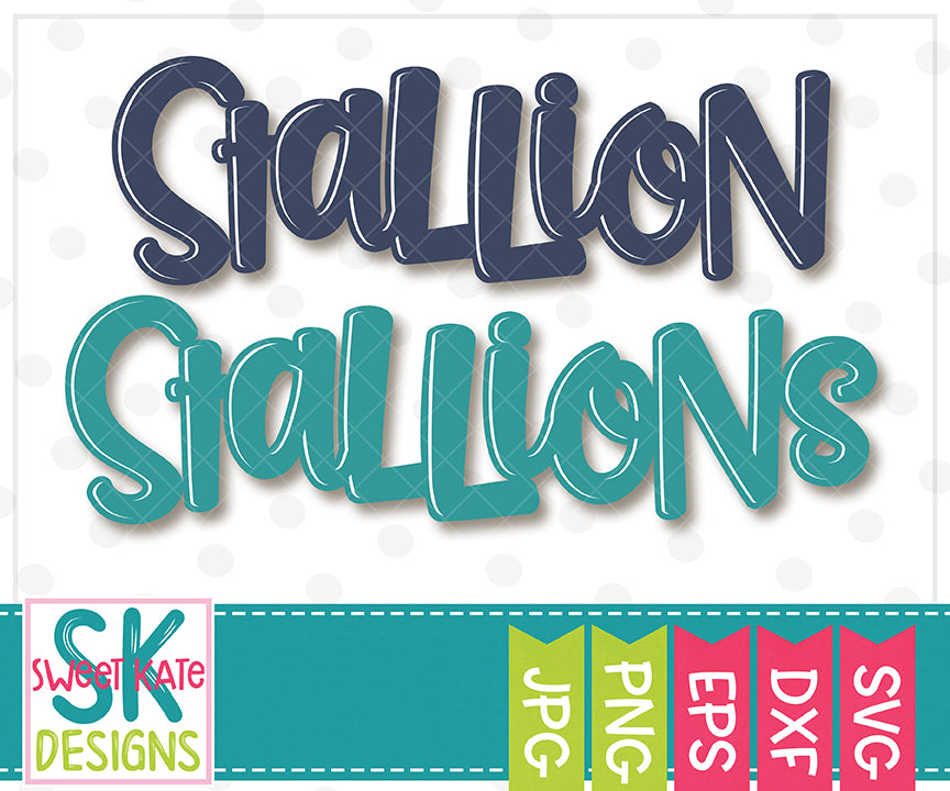 Stallion/Stallions SVG DXF EPS PNG JPG - Sweet Kate Designs