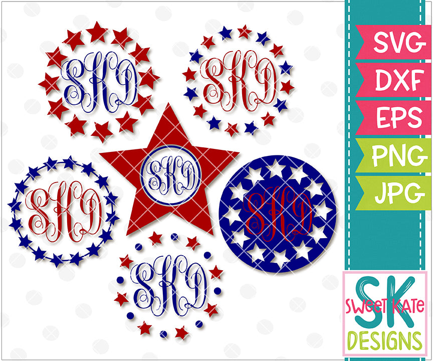 Star Monogram Circles SVG DXF EPS PNG JPG - Sweet Kate Designs