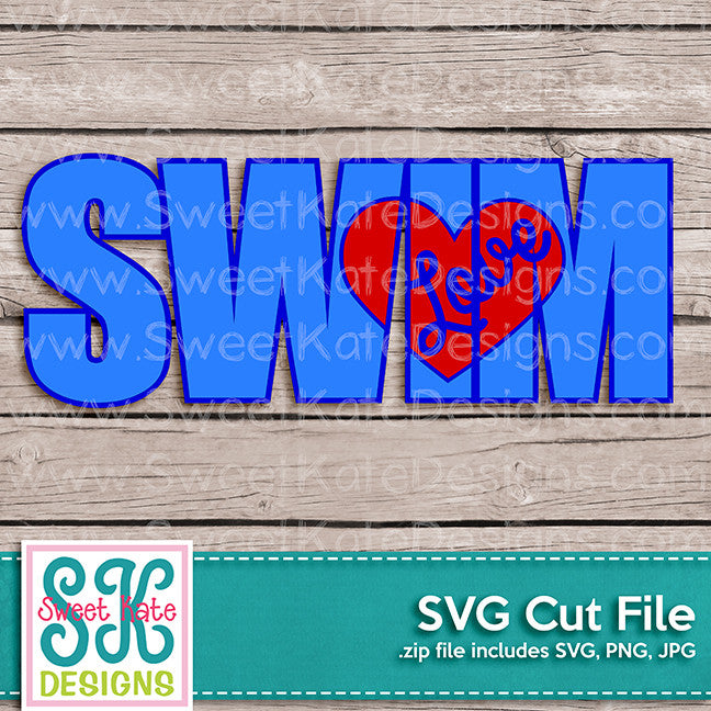 Swim with Knockout Love Heart SVG - Sweet Kate Designs