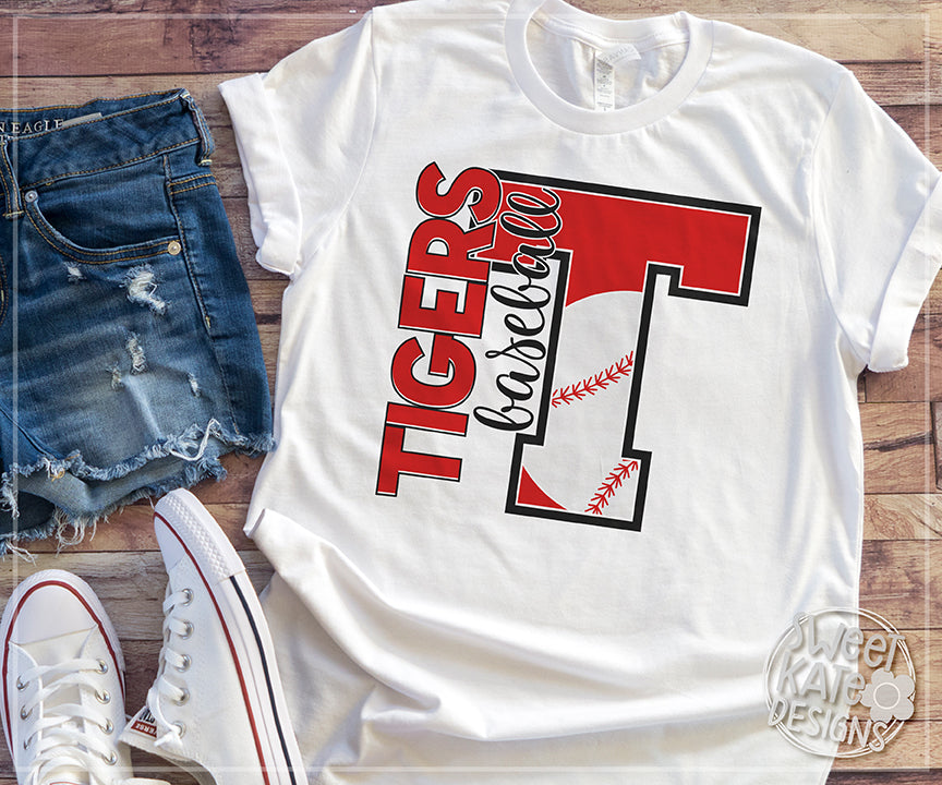 T Tigers Baseball SVG DXF EPS PNG JPG - Sweet Kate Designs