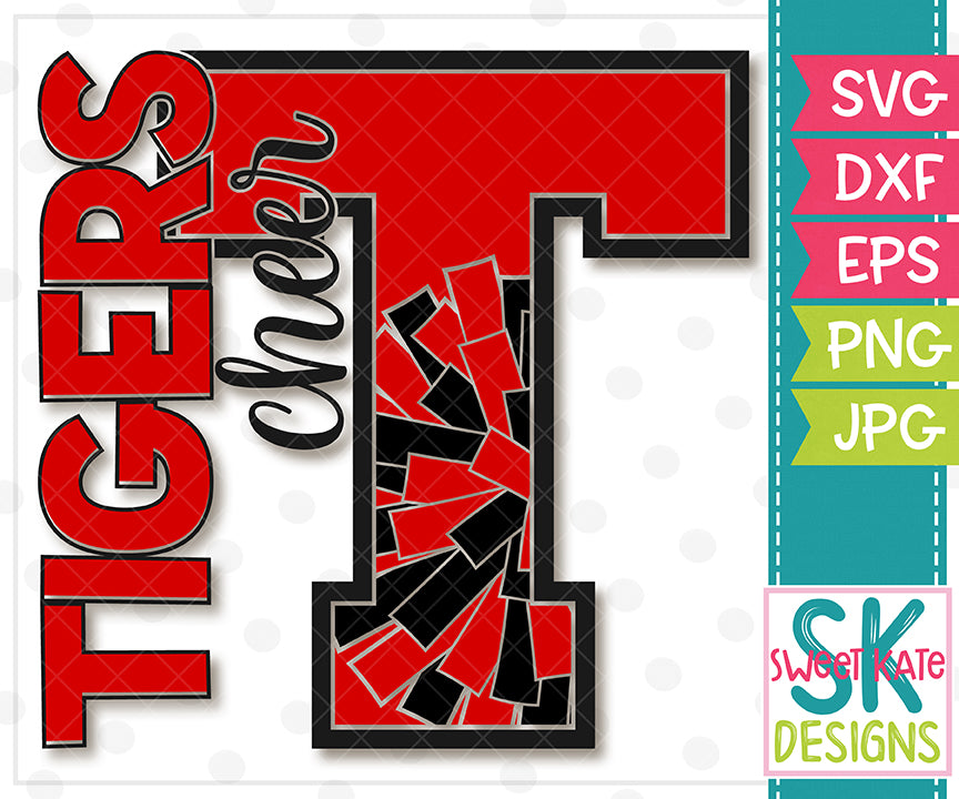 T Tigers Cheer SVG DXF EPS PNG JPG - Sweet Kate Designs