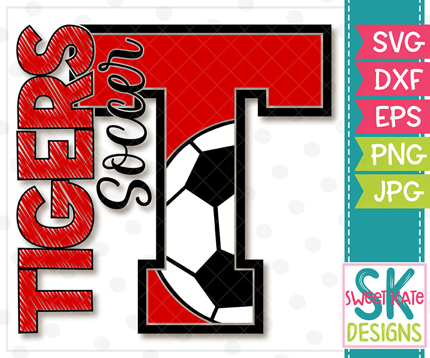 T Tigers Soccer SVG DXF EPS PNG JPG - Sweet Kate Designs