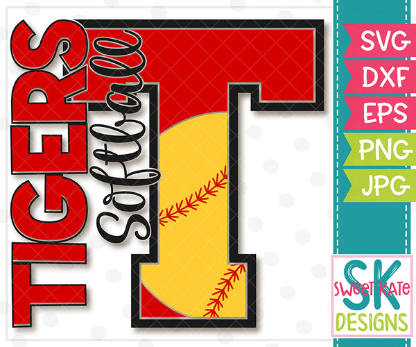 T Tigers Softball SVG DXF EPS PNG JPG - Sweet Kate Designs