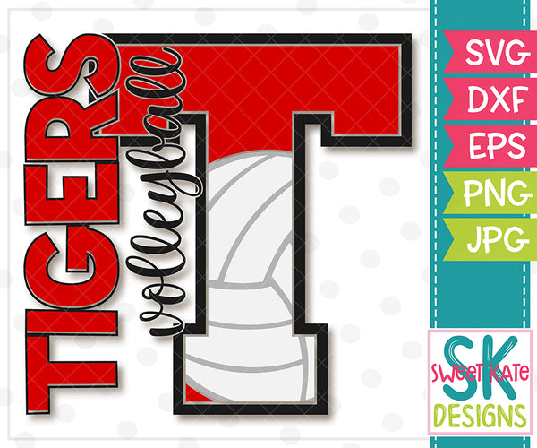 T Tigers Volleyball SVG DXF EPS PNG JPG - Sweet Kate Designs