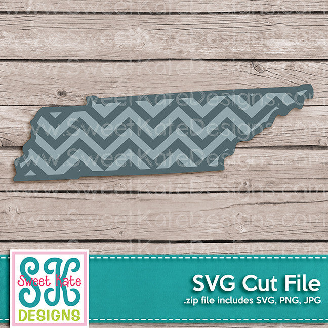 Tennessee with Chevron Pattern SVG - Sweet Kate Designs