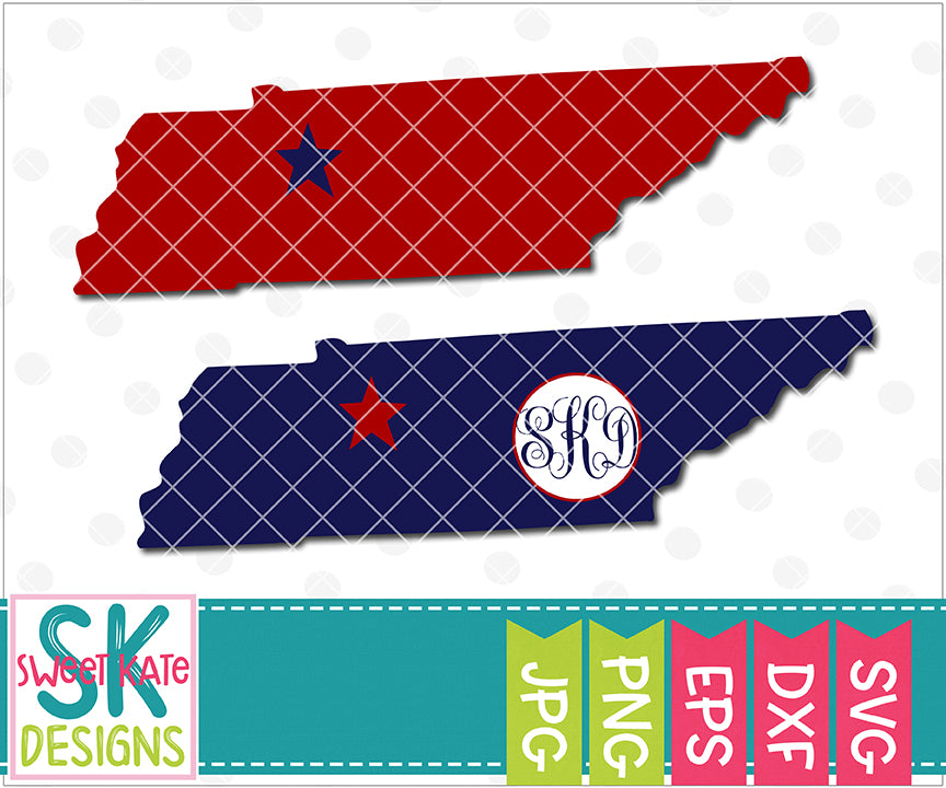 Tennessee with Monogram Option SVG DXF EPS PNG JPG - Sweet Kate Designs