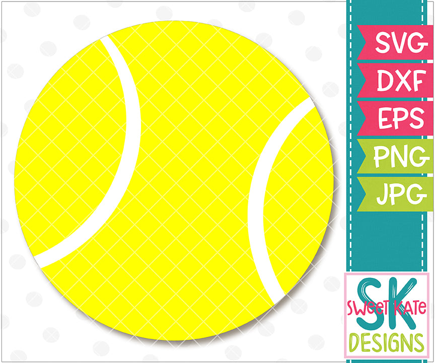 Tennis Ball SVG DXF EPS PNG JPG - Sweet Kate Designs