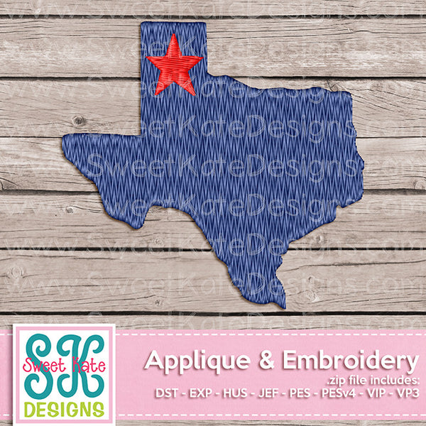 Texas Mini Fill Stitch Embroidery - Sweet Kate Designs