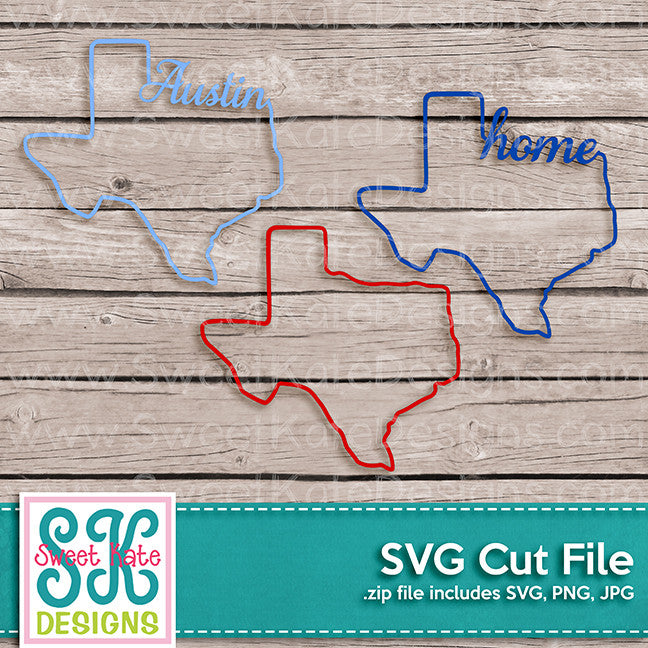 Texas Outline Austin Home SVG - Sweet Kate Designs