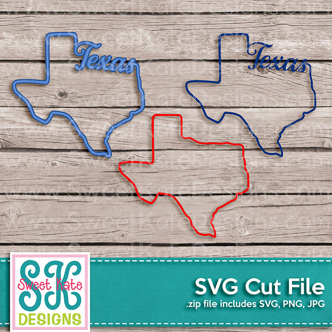 Texas Outline SVG - Sweet Kate Designs