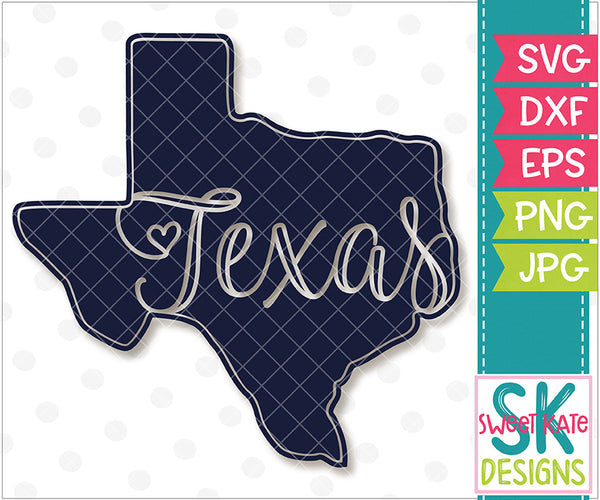 Texas Script Silhouette SVG DXF EPS PNG JPG - Sweet Kate Designs