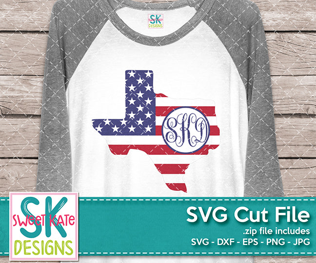 Texas USA Flag with Monogram Option - Sweet Kate Designs