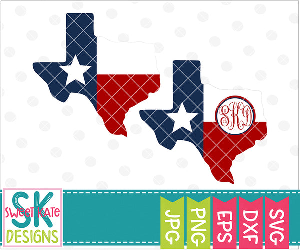 Texas with Flag with Monogram Option SVG DXF EPS PNG JPG - Sweet Kate Designs