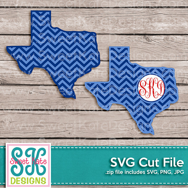 Texas with Monogram Option Chevron SVG - Sweet Kate Designs