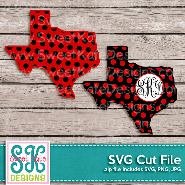 Texas with Monogram Option Polka Dot SVG - Sweet Kate Designs