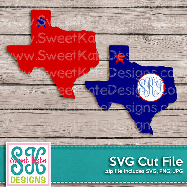 Texas with Monogram Option SVG - Sweet Kate Designs