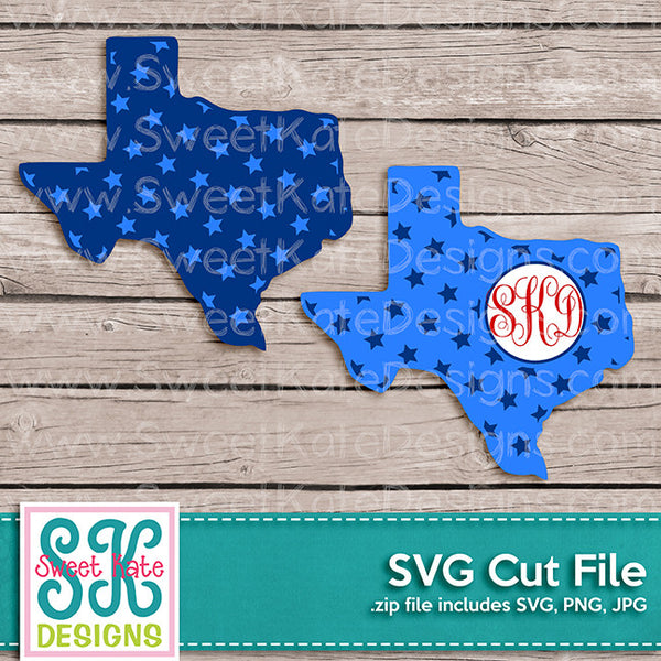 Texas with Monogram Option Stars SVG - Sweet Kate Designs