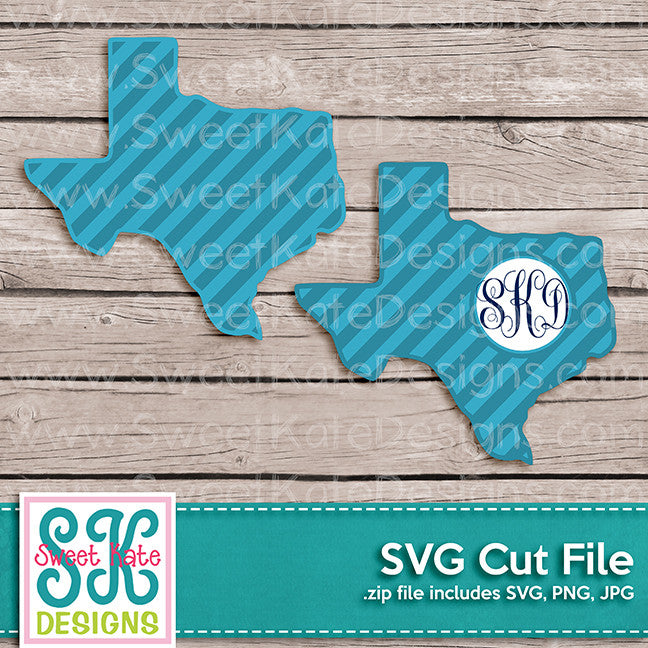 Texas with Monogram Option Stripe SVG - Sweet Kate Designs