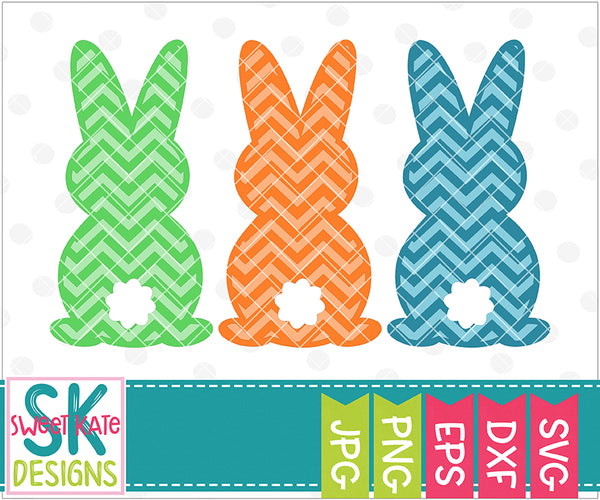 Three Bunnies Chevron SVG DXF EPS PNG JPG - Sweet Kate Designs