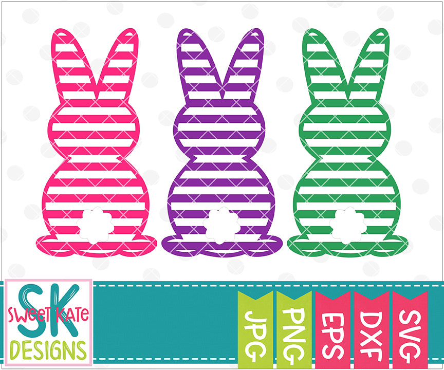 Three Bunnies Stripe SVG DXF EPS PNG JPG - Sweet Kate Designs