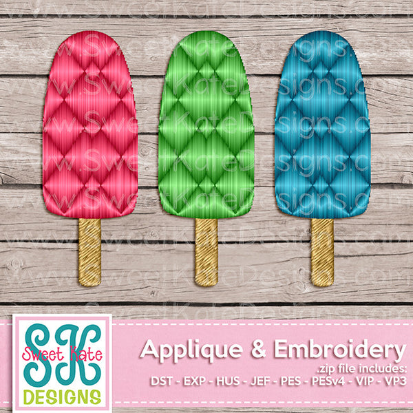 Three Popsicles Mini Fill Stitch Embroidery
