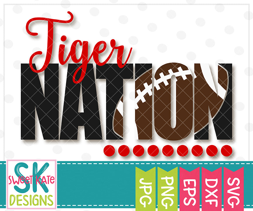 Tiger Nation with Knockout Football SVG DXF EPS PNG JPG