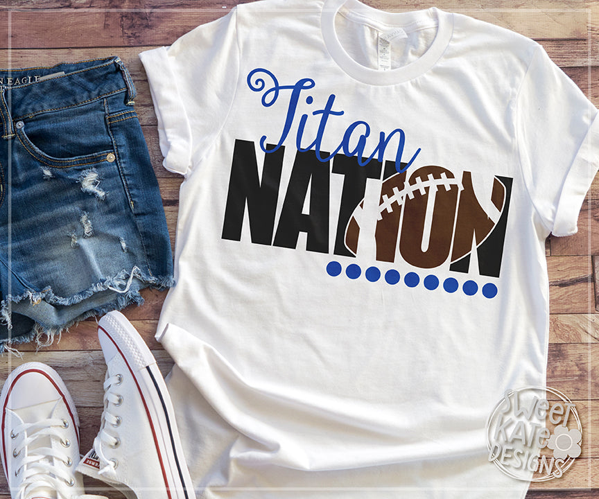 Titan Nation with Knockout Football SVG DXF EPS PNG JPG