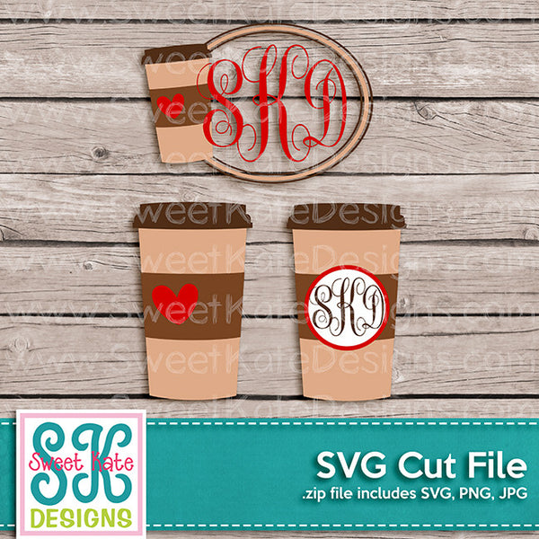 Travel Coffee Mug with Monogram Option SVG - Sweet Kate Designs