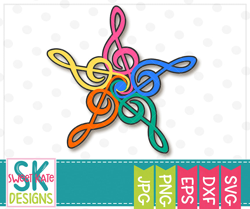 Treble Clef Star SVG DXF EPS PNG JPG