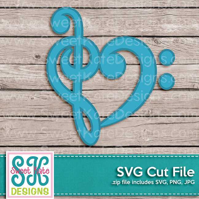 Treble & Bass Clef Heart SVG - Sweet Kate Designs