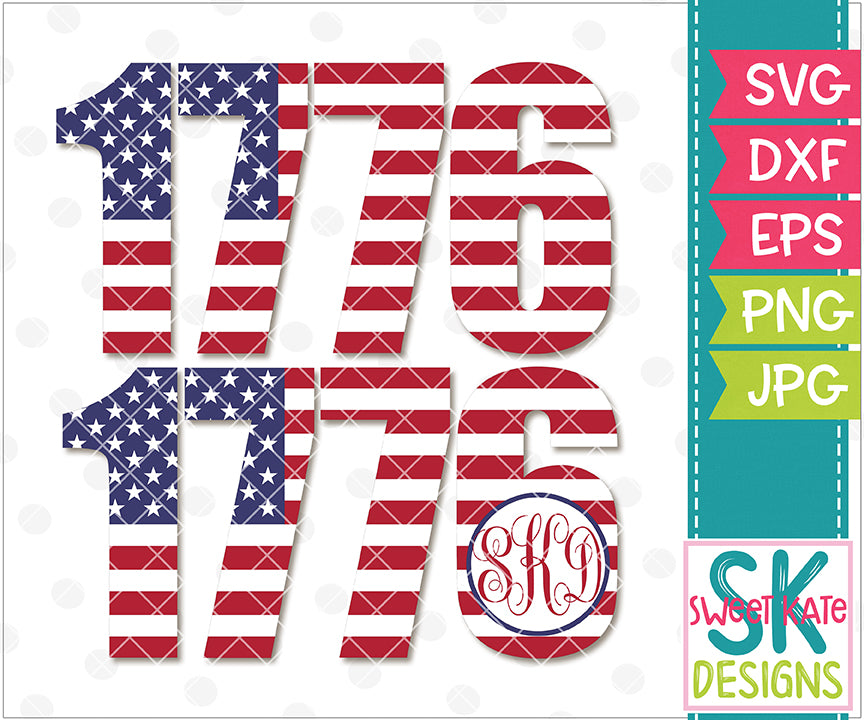 USA Flag 1776 with Monogram Option SVG DXF EPS PNG JPG