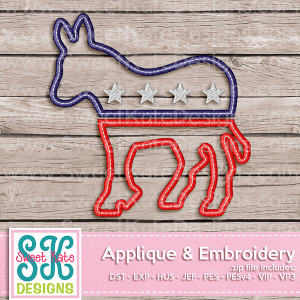 USA Political Party Symbol - Democrat Donkey Applique - Sweet Kate Designs