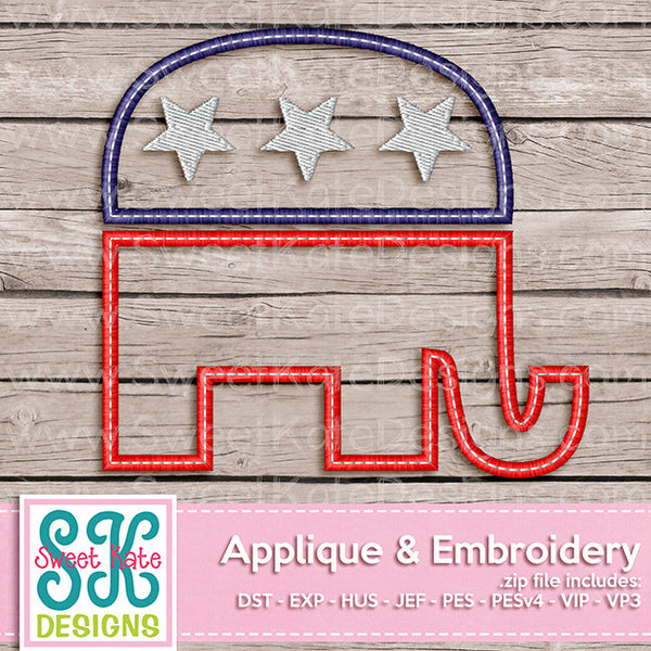 USA Political Party Symbol - Republican Elephant Applique - Sweet Kate Designs