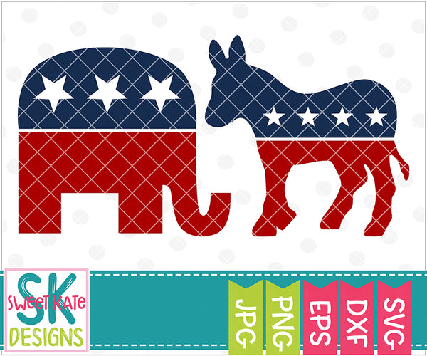 USA Political Party Symbols: Elephant & Donkey SVG DXF EPS PNG JPG - Sweet Kate Designs