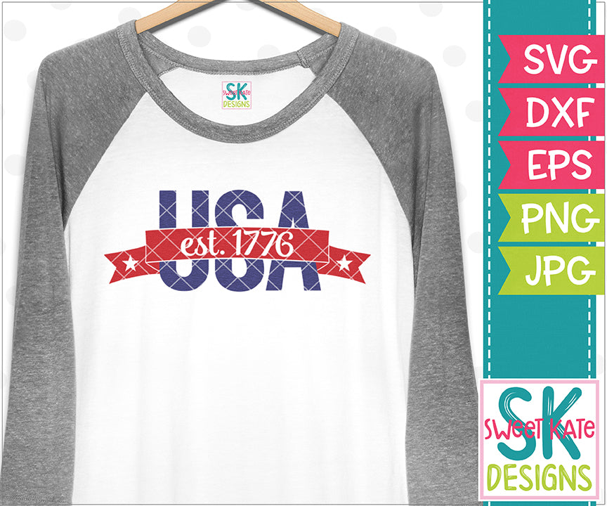 USA est. 1776 SVG DXF EPS PNG JPG - Sweet Kate Designs