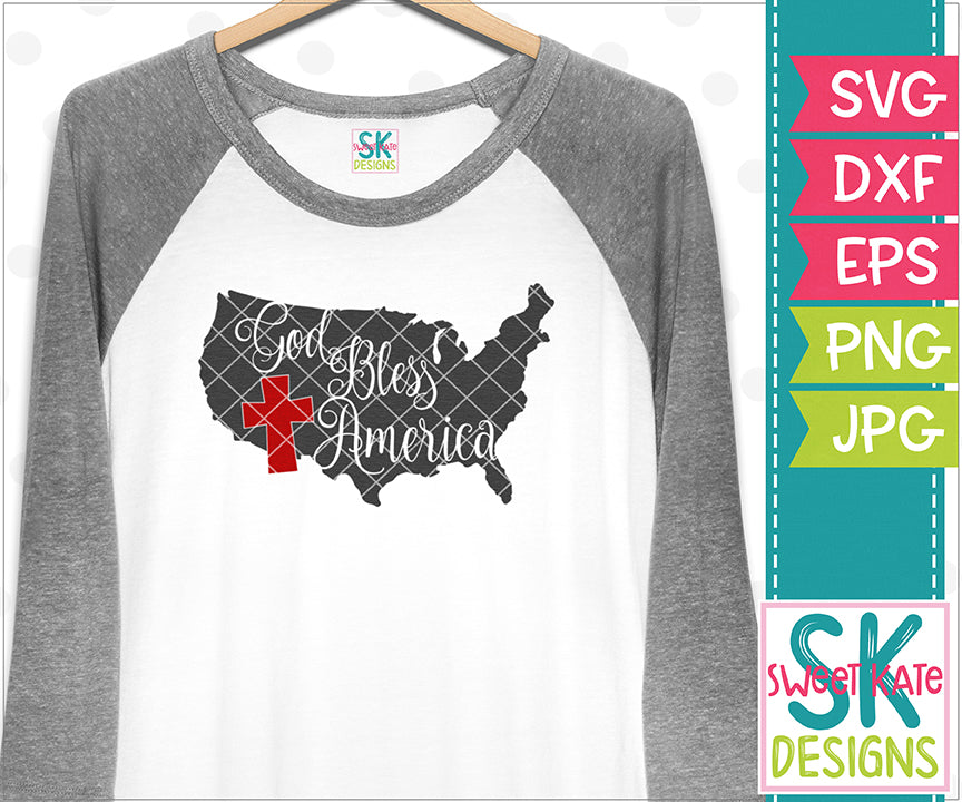 United States God Bless America  SVG DXF EPS PNG JPG - Sweet Kate Designs
