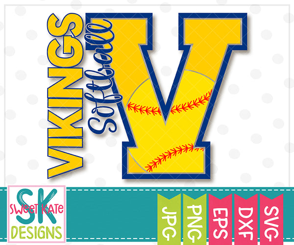 V Vikings Softball SVG DXF EPS PNG JPG - Sweet Kate Designs