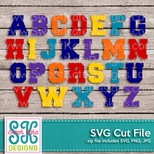 Varsity Letters A-Z SVG - Sweet Kate Designs