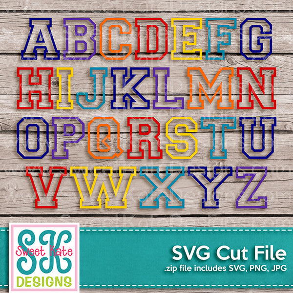 Varsity Outline Letters A-Z SVG - Sweet Kate Designs