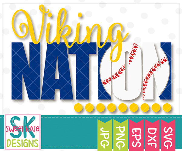 *NEW* Viking Nation with Knockout Baseball or Softball SVG DXF EPS PNG JPG - Sweet Kate Designs