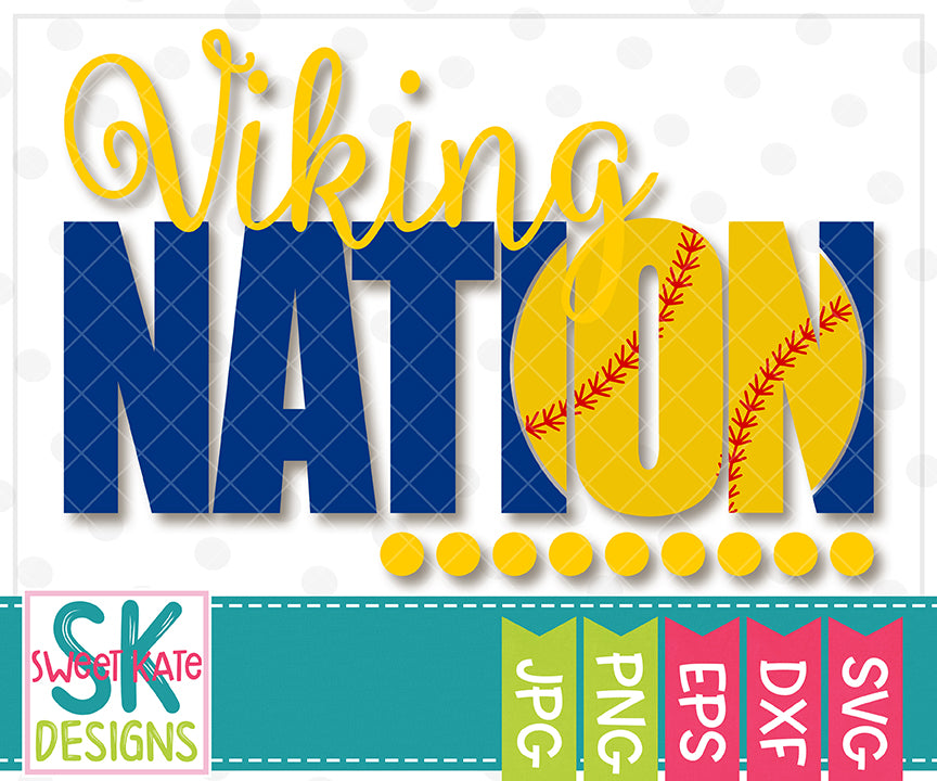 Viking Nation with Knockout Baseball or Softball SVG DXF EPS PNG JPG - Sweet Kate Designs