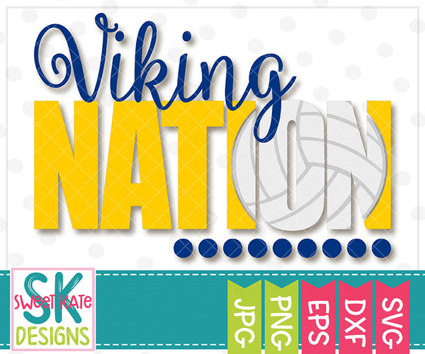 Viking Nation with Knockout Volleyball SVG DXF EPS PNG JPG - Sweet Kate Designs