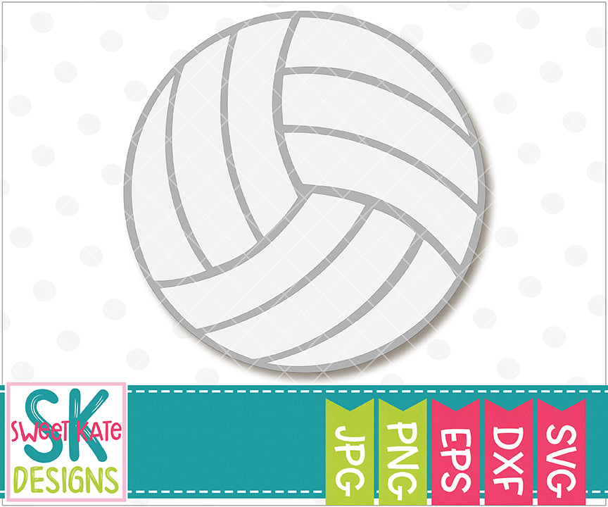 Volleyball SVG DXF EPS PNG JPG - Sweet Kate Designs