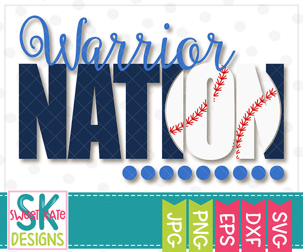 Warrior Nation with Knockout Baseball or Softball SVG DXF EPS PNG JPG - Sweet Kate Designs