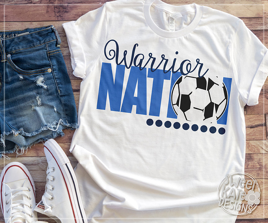 Warrior Nation with Knockout Soccer Ball SVG DXF EPS PNG JPG - Sweet Kate Designs